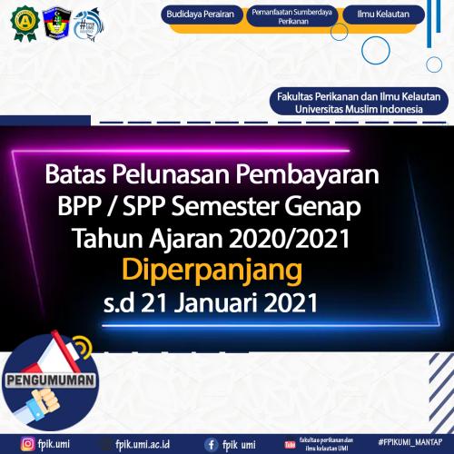 Batas Pelunasan Pembayaran BPP Semester Genap Diperpanjang Hingga 21 Januari 2021